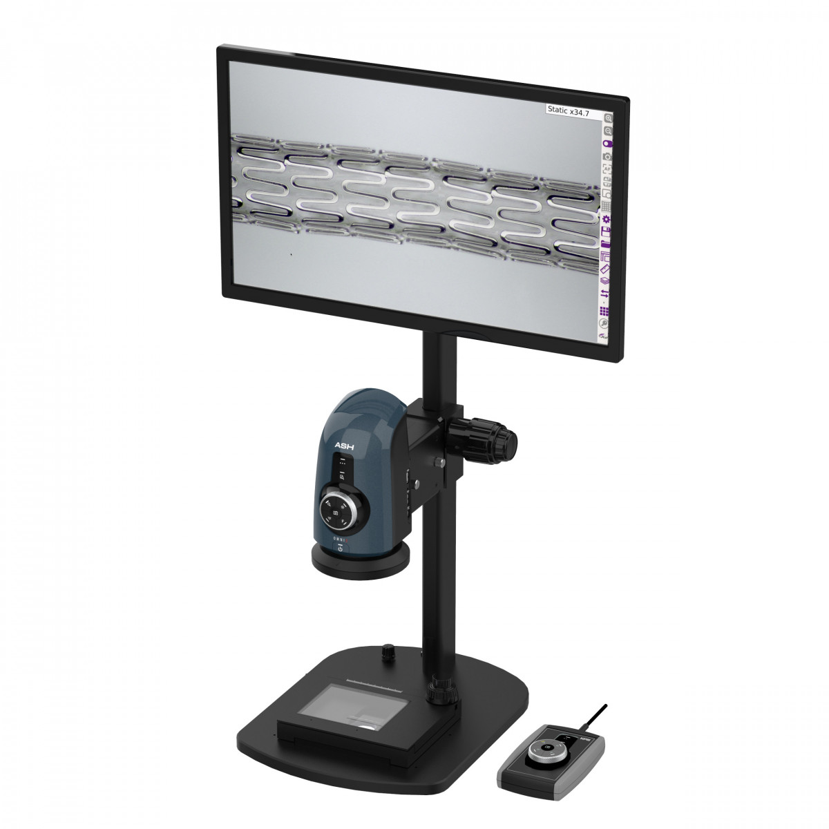 Omni 3 shown with optional stand, keypad, stage, monitor, and monitor bracket (mounts to top of stand)