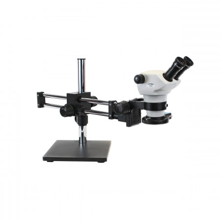 Z850 Zoom Stereo Microscope, Binocular, Ball Bearing Boom Stand, 0.5x Aux Objective, Quad LED Ring Light