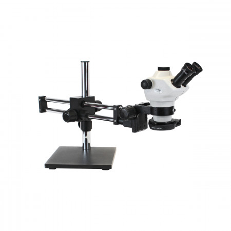 Z850 Zoom Stereo Microscope, Binocular, Ball Bearing Boom Stand, 0.5x Aux Objective, LED140 Ring Light